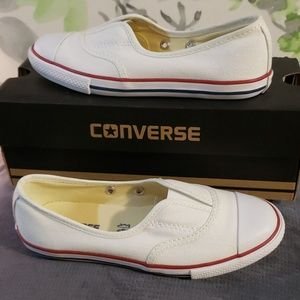 Youth Converse White/Natura Slip-on 'Ballet Flats'